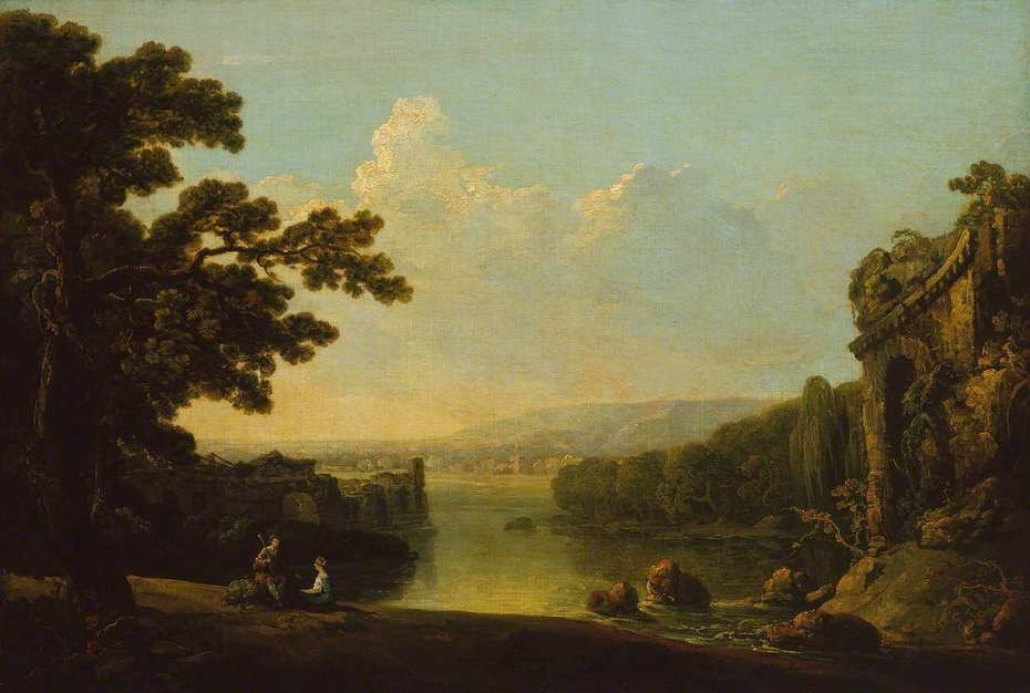 River Scene with Ruins