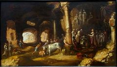 Sacrifice antique dans une grotte