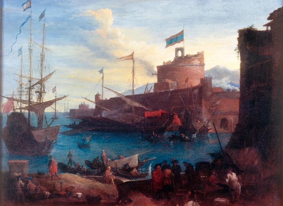 Scène de port méditerranéen