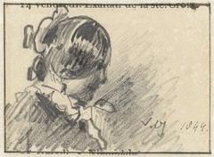 Schets van een vrouwenhoofd, in profiel naar rechts