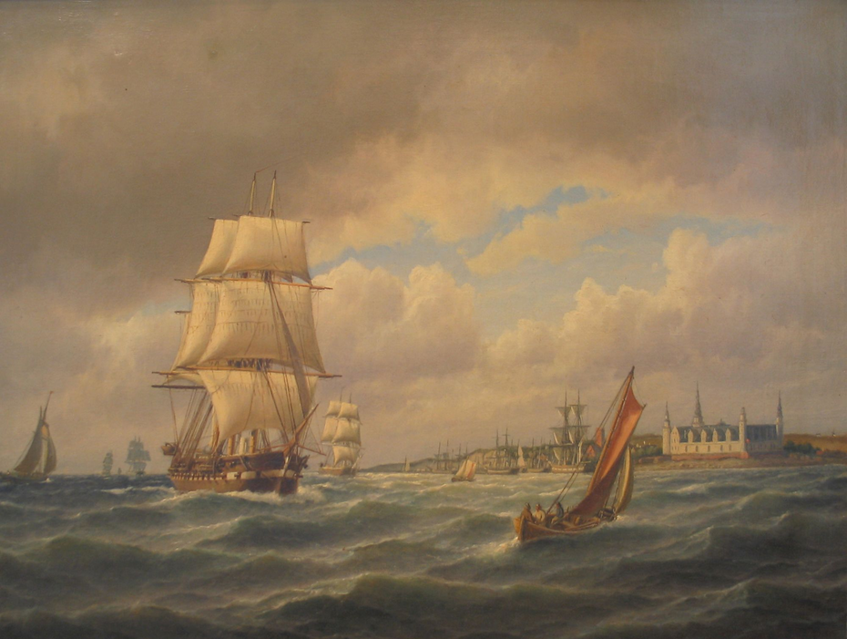 Seascape with numerous ships in the Sound off Kronborg, Denmark.