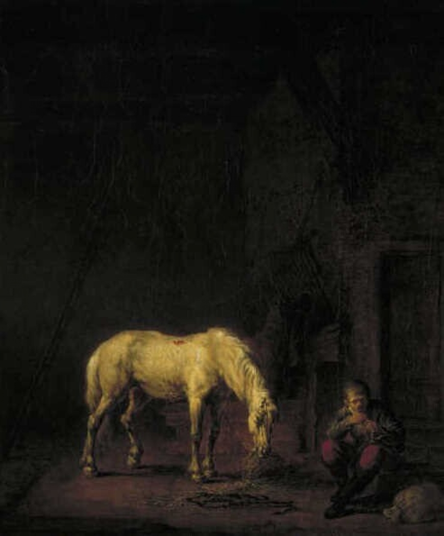 Stable with White Horse
