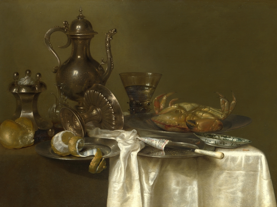 Still Life: Pewter and Silver Vessels and a Crab
