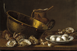 Still Life with Oysters Garlic Eggs Pot and Pan