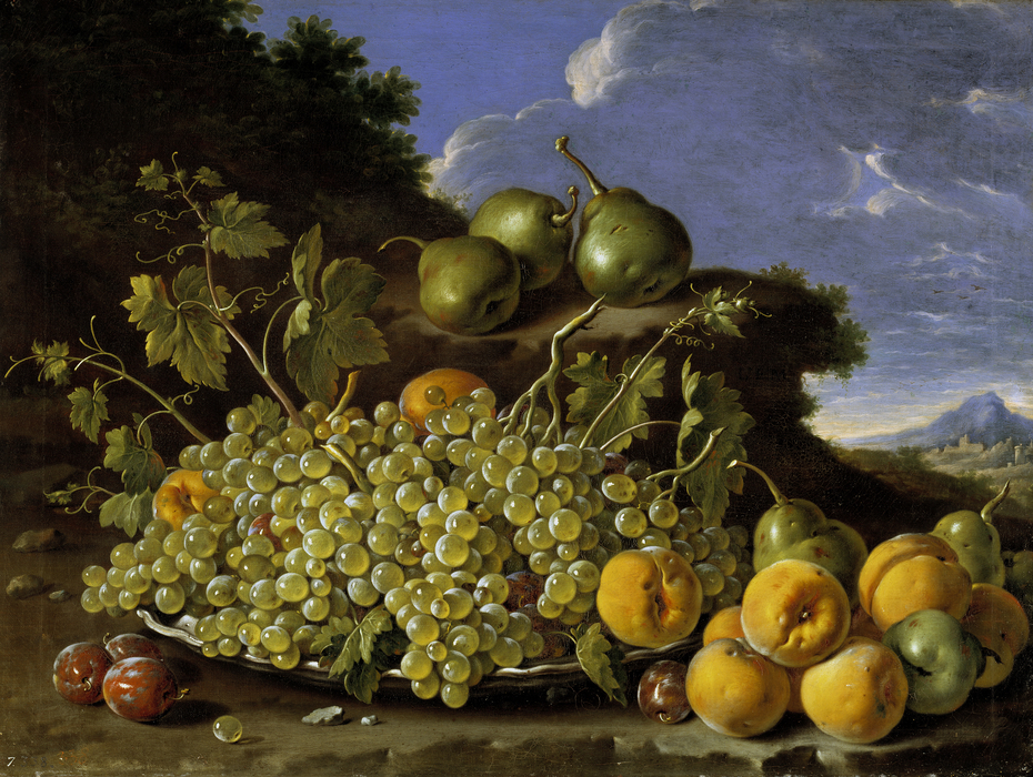 Still Life with Plate of Grapes Peaches Pears and Prunes in a Landscape