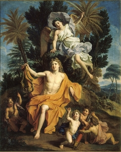 Story of Apollo - Apollo Crowned by Victory after Having Slayed Python