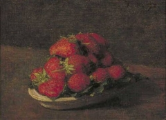 Strawberries on a small earthenware plate