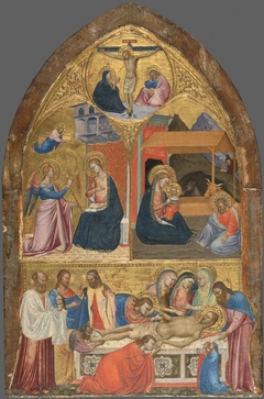 The Annunciation; The Nativity; The Lamentation over the Dead Christ; above: Christ on the Cross between the Virgin and Saint John the Evangelist