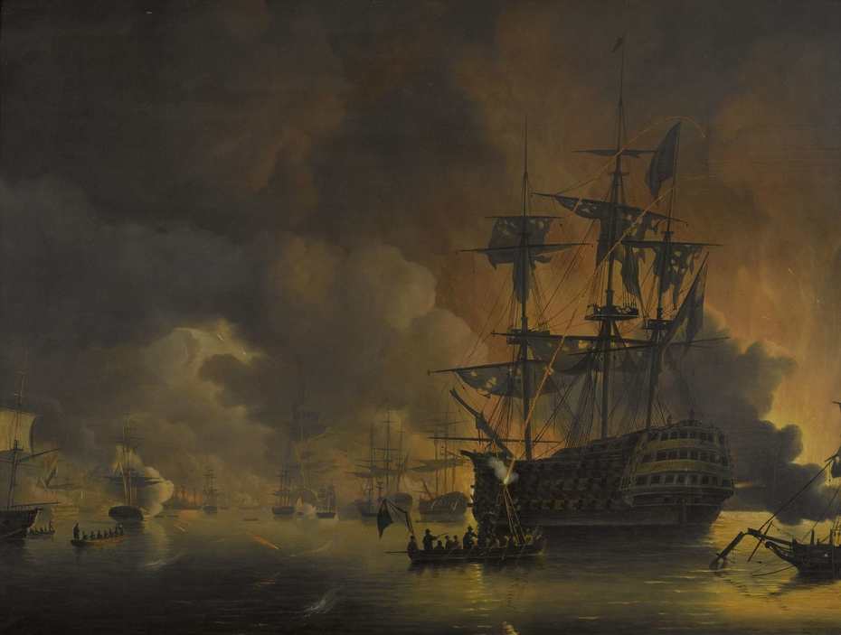 The fire on the Wharves of Algiers, shortly after the commencement of the Bombardment by the Anglo-Dutch Fleet, 27 August 1816