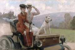 The Goldsmith Ladies in the Bois de Boulogne in 1897 on a Peugeot cart