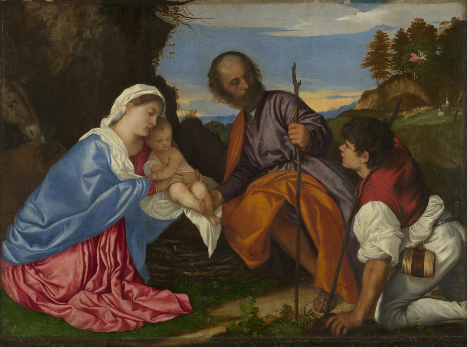 The Holy Family with a Shepherd
