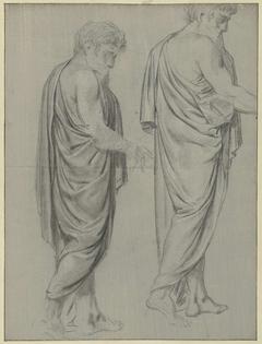 Twee draperiestudies van een lopende man, naar rechts
