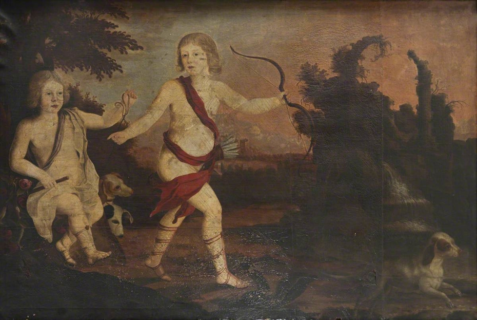 Two Boys as Naked Putti Hunting