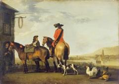 Two Horsemen at a Tavern