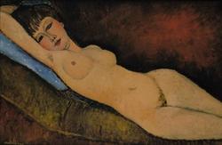Reclining Nude on Blue Cushion