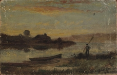 Untitled (landscape, boat moored near bank with man walking)