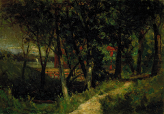 Untitled (landscape, forest scene with red fence and building)