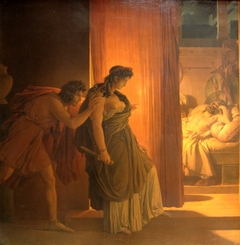Clytemnestra hesitates before killing the sleeping Agamemnon. On the left, Aegisthus urges her on.