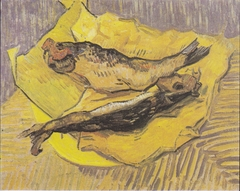 Still Life with smoked herrings on yellow paper