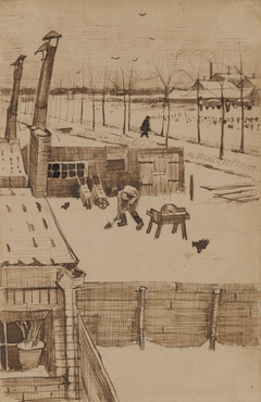 View from the window of Vincent's studio in winter / Snowy Yard