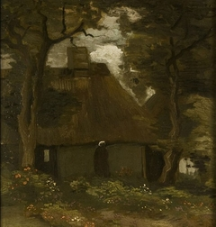 Farmhouse with two trees and Peasant woman or The Cottage under the Trees