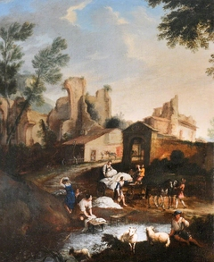 View of Buildings and Ruins with Washerwomen at a River and their Cart and a Shepherd with his Sheep