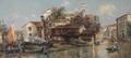 View of the Gondola Shipyard in San Trovaso, Venice