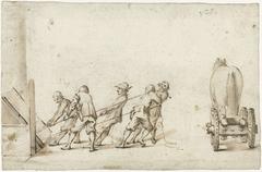 Vijf mannen die een zwaar voorwerp uit een kelder trekken