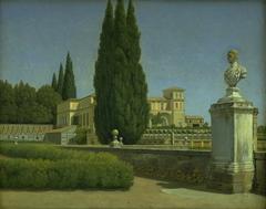 View of the Gardens of the Villa Albani. Rome