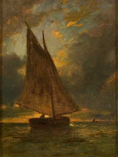 Vissersboot op zee (zeegezicht bij Honfleur)