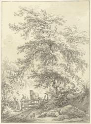 Vrouw met paard bij hek onder grote boom