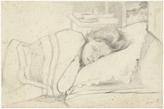Vrouw van Richard Roland Holst in bed, naar rechts