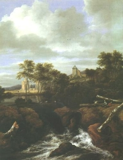 Waterfall with ruins and a village in the distance