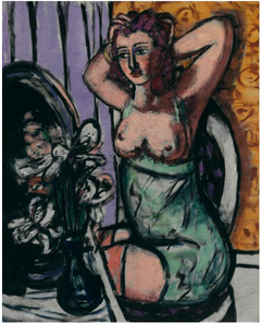 Woman with Mirror and Orchids
