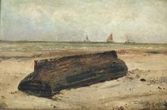 A boat on a beach