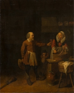 A Butcher Offering a Woman a Glass of Beer