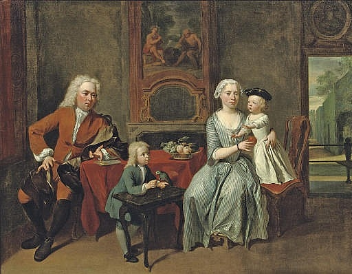A family portrait of a gentleman, his wife handing an apple to the daughter and their son feeding a parrot, all in an interior, a park beyond