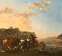 A Landscape with Peasants (Landscape with Herdsmen fording a River)