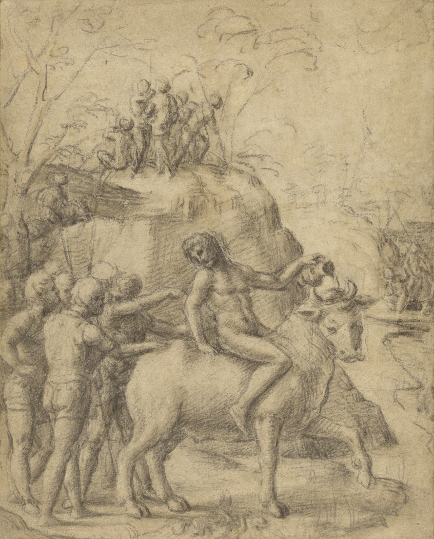 A Man Riding a Bull, and Other Figures