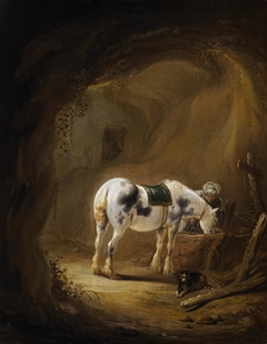 A Rider in Oriental Dress halting in a Grotto with his Horse and his Dog