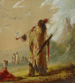 A Shoshonee Indian Smoking