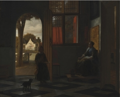A Woman Seated at a Window and a Child in a Doorway