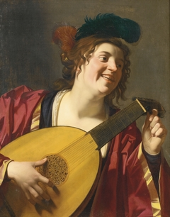 A Woman tuning a lute