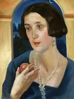A woman with an apple