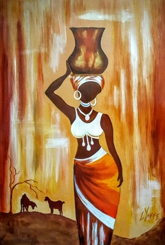 African Lady with Calabash on Head (drops)