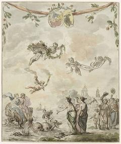 Allegorie op het bezoek van de prins en prinses aan Amsterdam, 1768