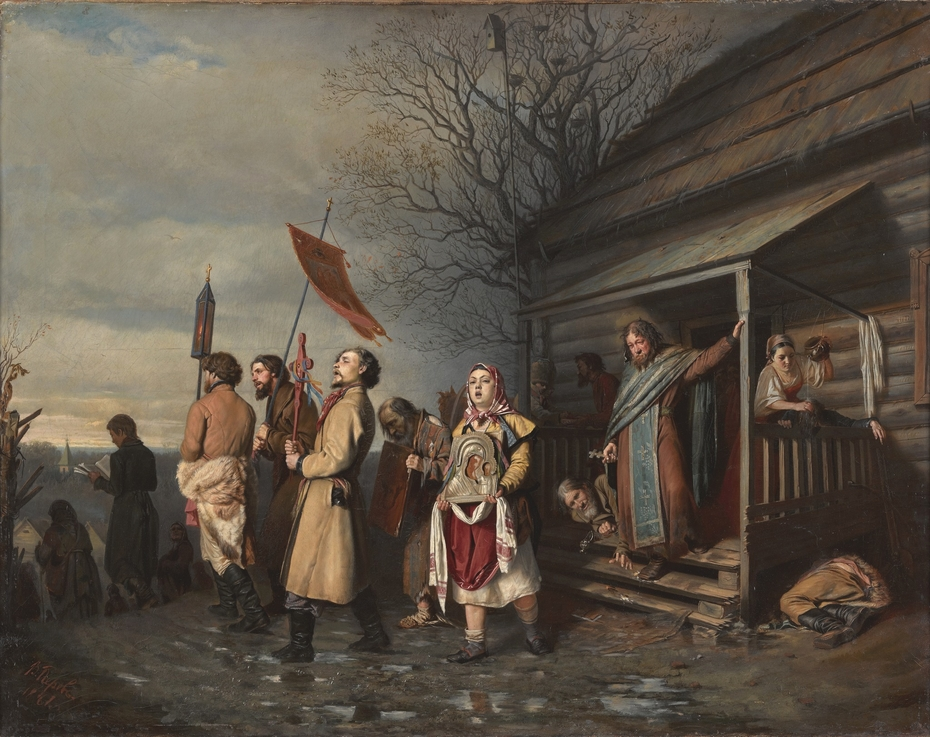 An Easter procession in a Russian village
