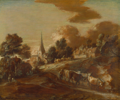 An Imaginary Wooded Village with Drovers and Cattle