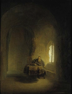 An Old Scholar Near a Window in a Vaulted Room