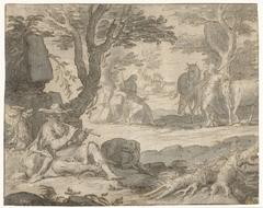 Apollo speelt de fluit terwijl hij de kudde van Admetus hoedt